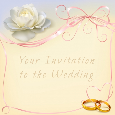 invitation card for wedding with flower, ribbon and wedding rings Zdjęcie Seryjne - 25472868