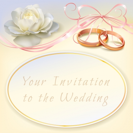 invitation card for wedding with flower, ribbon and wedding rings Zdjęcie Seryjne - 25472870