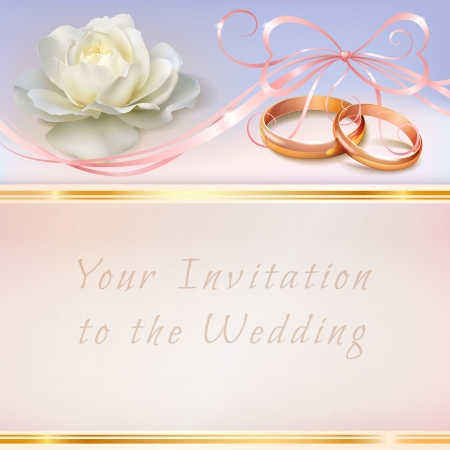 invitation card for wedding with flower, ribbon and wedding rings Ilustracja