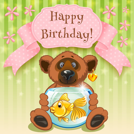 happy birthday, and the aquarium with goldfish in a gift