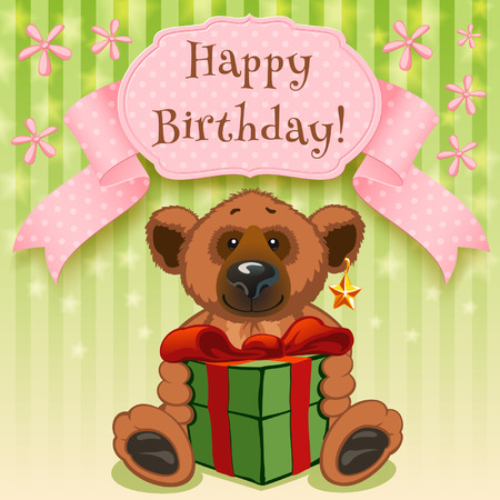 Happy Birthday and a large gift box with a bow Vector