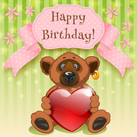 Teddy Bear wishes happy birthday and gives your heart Ilustracja