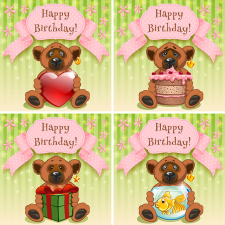 Teddy Bear wishes happy birthday and gives gifts vector illustration Vector