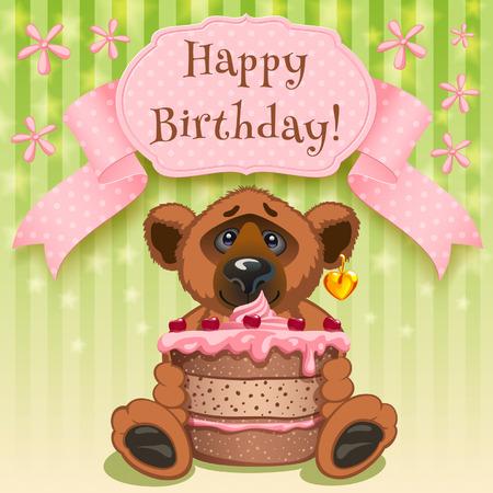 Teddy Bear wishes  Happy birthday and gives a birthday cake Vector