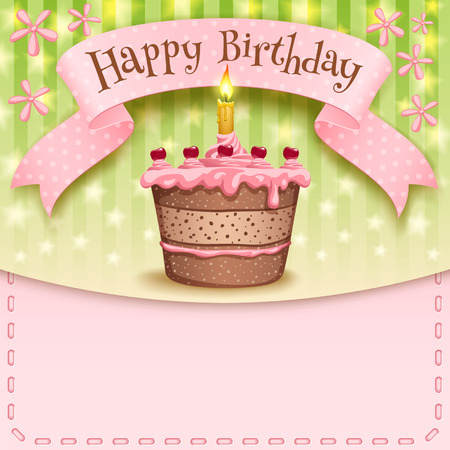 Greeting card with a banner and a birthday cake and candles
