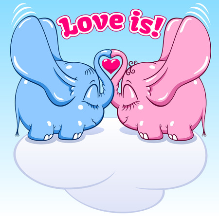 two winged lovers elephants on the cloud soar to the heights vector format Ilustracja