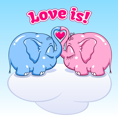 soar: two lovers elephants on the cloud soar to the heights vector format