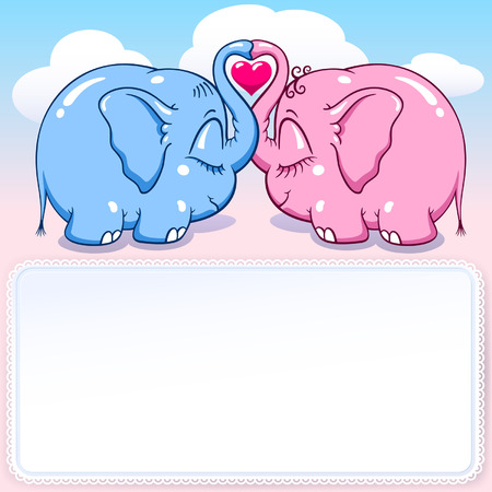 two lovers elephants on the cloud soar to the heights vector format