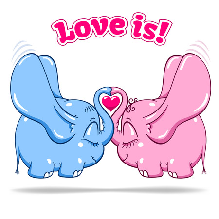 two winged love baby elephants soar to the heights isolated vector format Ilustracja