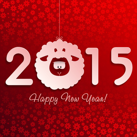 New Year greeting card with a cute Sheep, symbol of new year 2015 Ilustracja