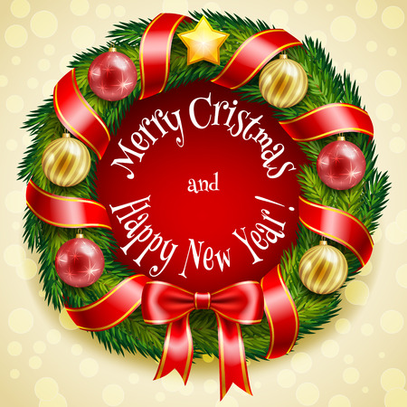 Christmas wreath with baubles and ribbons in vector format