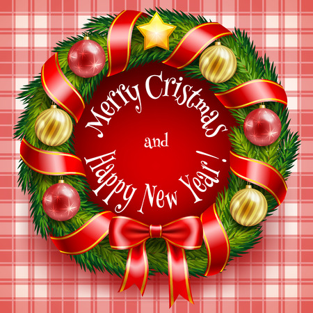 wreathe: Christmas wreath with baubles and ribbons in vector format