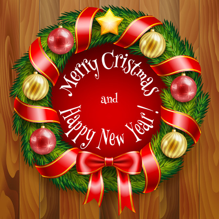 Of Christmas fir wreath with ribbons and balloons in vector formatOf Christmas fir wreath with ribbons and balloons in vector format