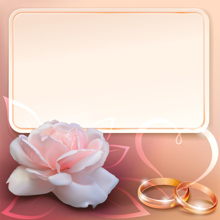 invitation card for wedding with flower, ribbon and wedding rings Vectores