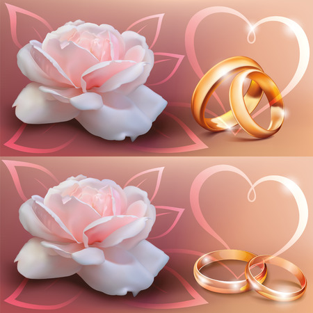 anillos de matrimonio: tarjeta de invitaci�n para la boda con los anillos de flores, cinta y de la boda Vectores