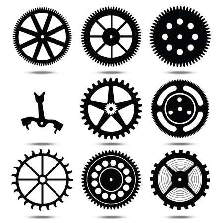 set of silhouettes of gears on a transparent background