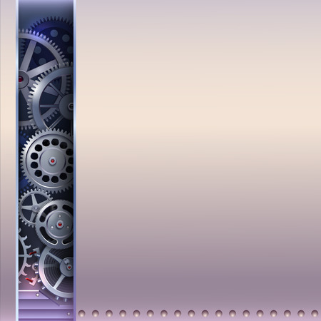 abstract background with metal gears silver clockwork