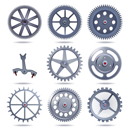 set of silver gears on white background Vectores