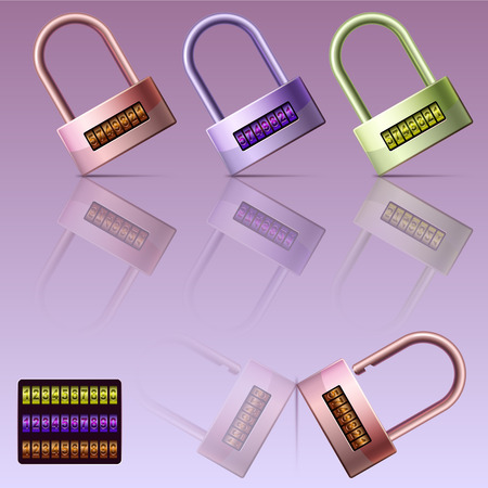 code locks set are reflected on the surface Ilustracja