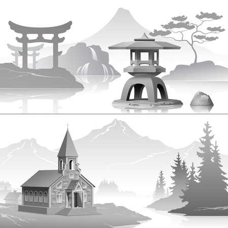 Symbols of cultural traditions of West and East
