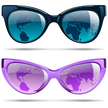 Sunglasses with silhouette continents for summer vacation Ilustracja