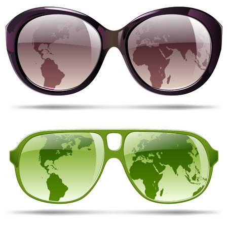 Sunglasses with silhouette continents for summer vacation Vectores