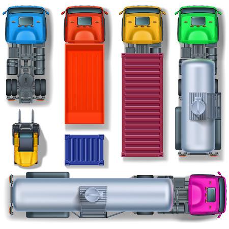 Vrachtwagens collectie en heftruck op wielen met container, bovenaanzicht. Vector Illustratie