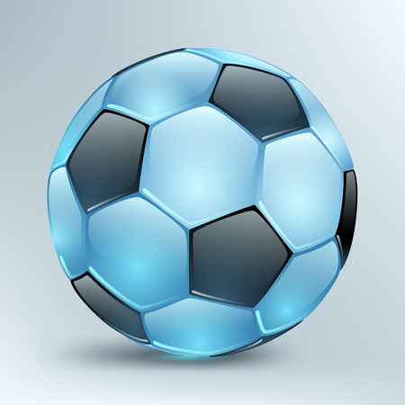 shiny blue football with black polyhedra on a light background Ilustracja