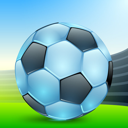 shiny blue football with black polyhedra in the sports arena Vectores