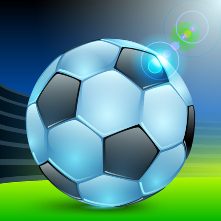 shiny blue football with black polyhedra in the sports arena Ilustracja