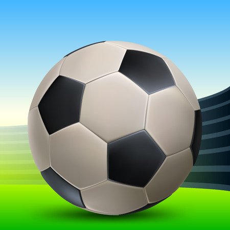 leather football with black polyhedra in the sports arena
