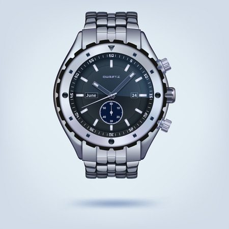 wrist watch: photorealistic metal watches with bracelet on a light background