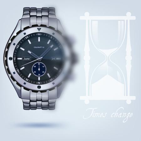 photorealistic metal watches with bracelet on a light background Zdjęcie Seryjne - 42204998