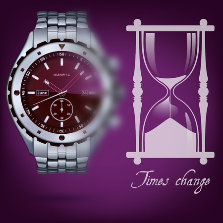photorealistic metal watches with bracelet on a dark background
