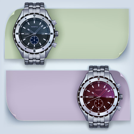 wrist: photorealistic metal watches with banners on a light background