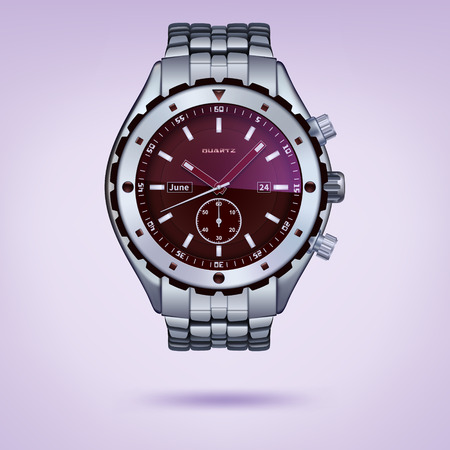 photorealistic metal watches with bracelet on a light background