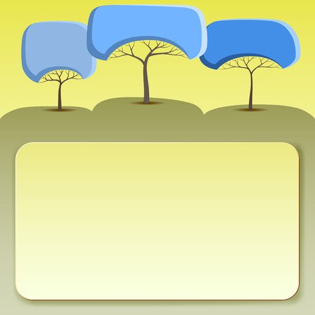 Yellow banner with abstract trees of round shape