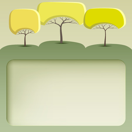 Green banner with abstract trees of round shape