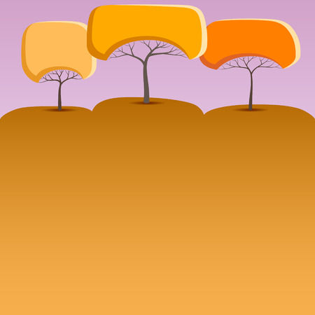 Orange banner with abstract trees of round shape