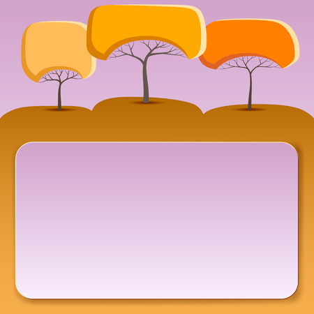 Pink banner with abstract trees of round shape