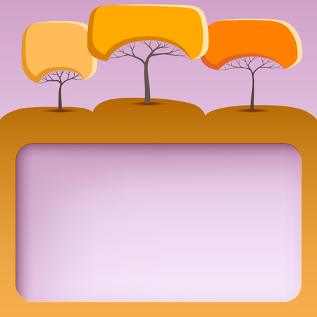 Pink banner with abstract trees of round shape Zdjęcie Seryjne - 44166534