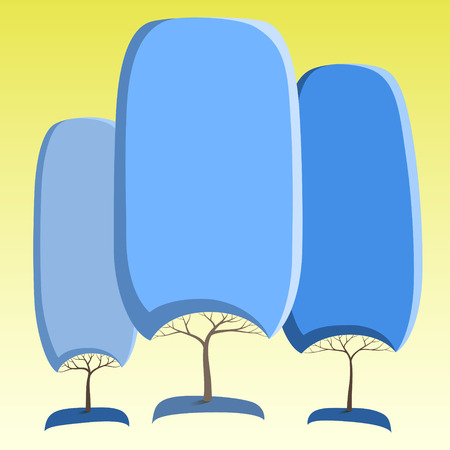Blue like round crown tree abstract stickers Ilustracja