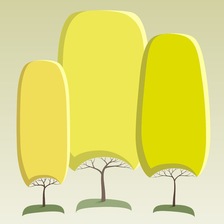 Green like round crown tree abstract stickers Ilustracja