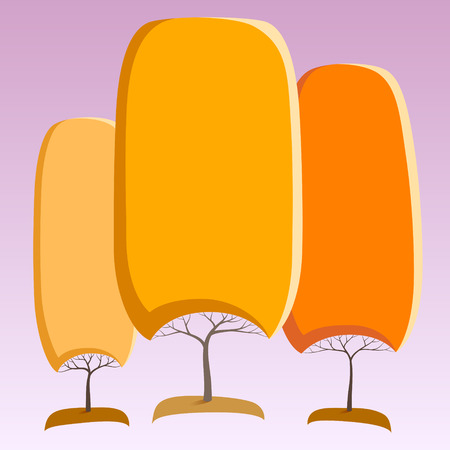 Orange like round crown tree abstract stickers Ilustracja