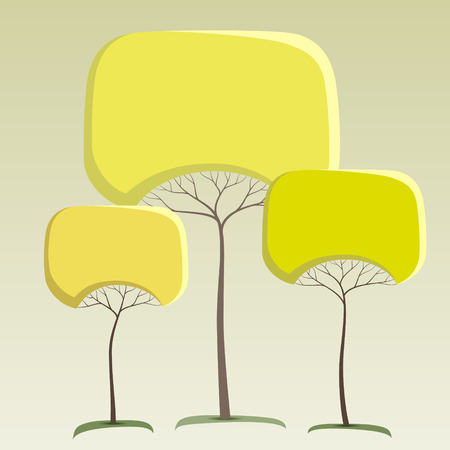 Green like round crown tree abstract stickers Vectores