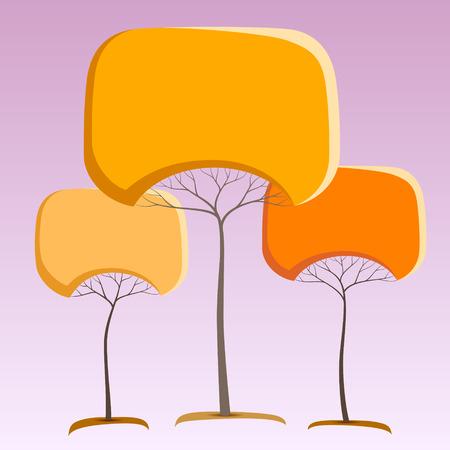 Orange like round crown tree abstract stickers Ilustracja