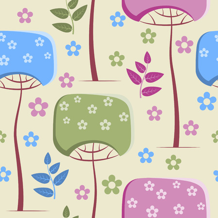 Spring pattern with flowering trees on yellow background