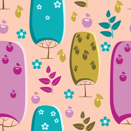 Trees pattern with lemons, apples and flowers