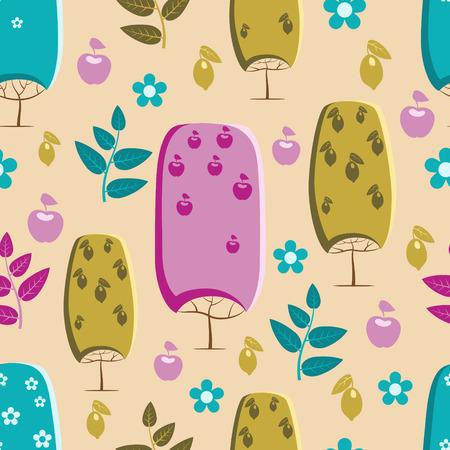 Trees pattern with lemons, apples and flowers Zdjęcie Seryjne - 44275756