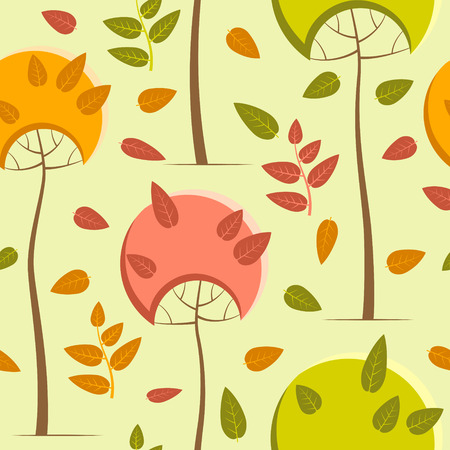 Autumn pattern with trees on a pale green background